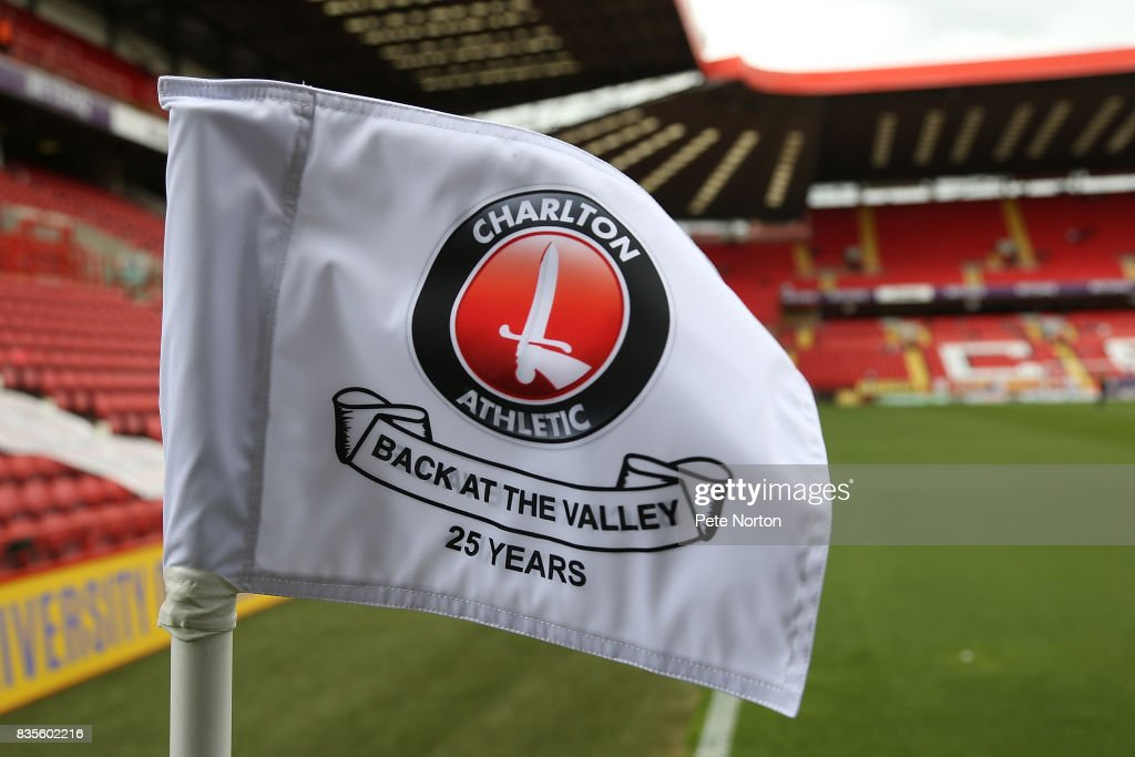 A corner flag celebrating 25 years since Charlton Athletic returned to the Valley during the Sky Bet League One match between Charlton Athletic and Northampton Town at The Valley on August 19, 2017 in London, England.