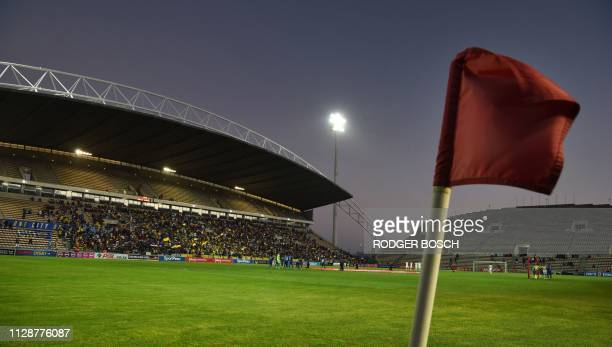 Corner flag flutters in the breeze ahead of the Premier Soccer League football match between Cape Town City and Mamelodi Sundowns at Cape Town...