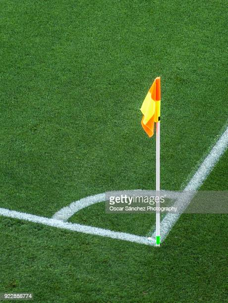 corner flag in a sports stadium - corner marking stock pictures, royalty-free photos & images