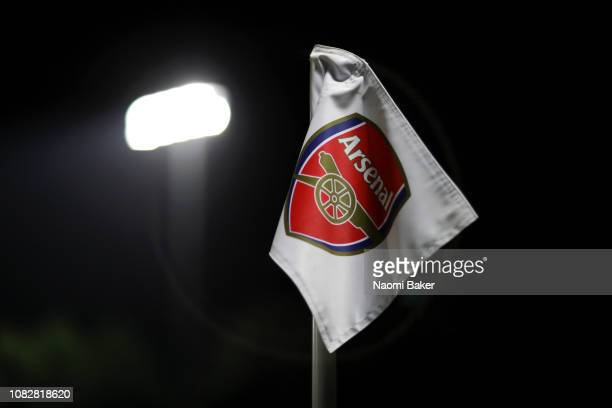 A corner flag is pictured during the Premier League 2 match between Arsenal and Manchester City at Meadow Park on January 14 2019 in Borehamwood...