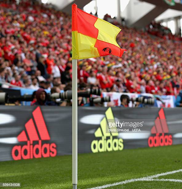 A corner flag is pictured in front of an adidas bench during the UEFA EURO 2016 Group B match between Wales and Slovakia at Stade Matmut Atlantique...