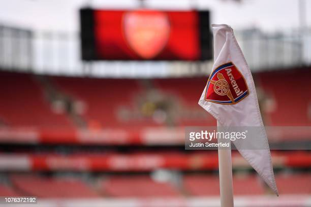 A corner flag is seen inside the stadium prior to the Premier League match between Arsenal FC and Fulham FC at Emirates Stadium on January 1 2019 in...