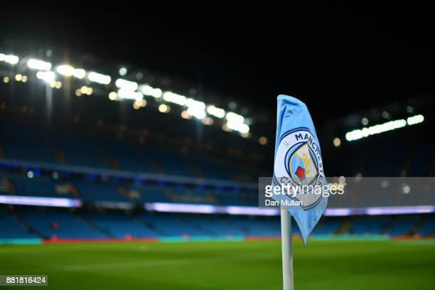 A corner flag is seen inside the stadium prior to the Premier League match between Manchester City and Southampton at Etihad Stadium on November 29...