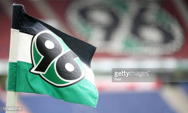 Corner flag is seen inside the stadium prior to the Second Bundesliga match between Hannover 96 and 1. FC Heidenheim 1846 at HDI-Arena on June 7,...