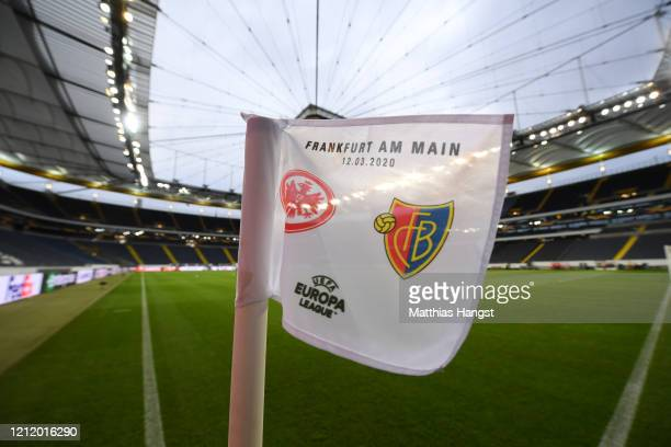 Corner flag is seen inside the stadium prior to the UEFA Europa League round of 16 first leg match between Eintracht Frankfurt and FC Basel at...
