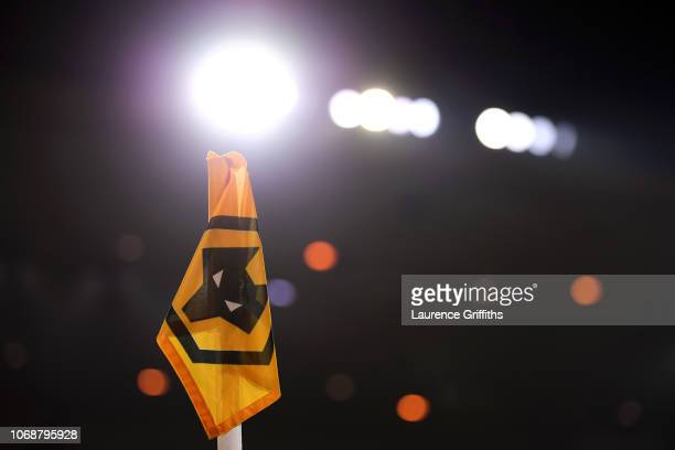 A corner flag is seen prior to the Premier League match between Wolverhampton Wanderers and Chelsea FC at Molineux on December 5 2018 in...