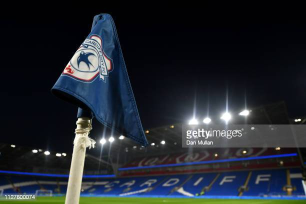 A corner flag is seen prior to the Premier League match between Cardiff City and Everton FC at Cardiff City Stadium on February 26 2019 in Cardiff...