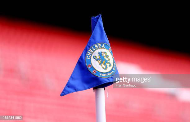 Corner flag is seen prior to the UEFA Champions League Quarter Final Second Leg match between Chelsea FC and FC Porto at Estadio Ramon Sanchez...