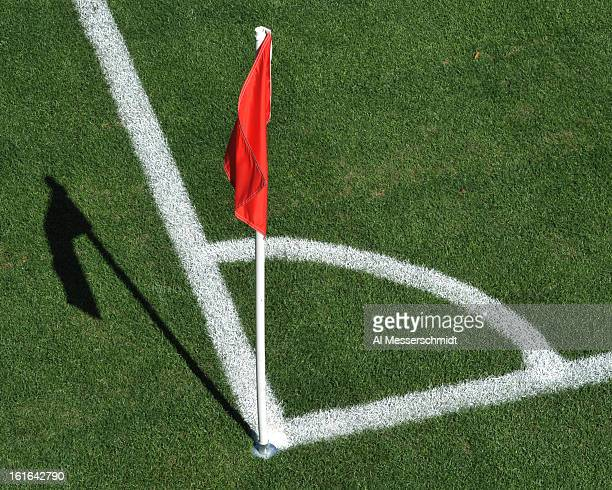 A corner flag is set as the Columbus Crew plays against Toronto FC February 9 2013 in the first round of the Disney Pro Soccer Classic in Orlando...