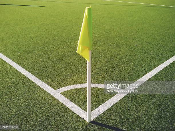 corner flag on soccer field - corner marking stock pictures, royalty-free photos & images