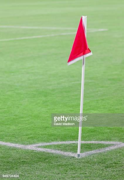 Corner flag on soccer field