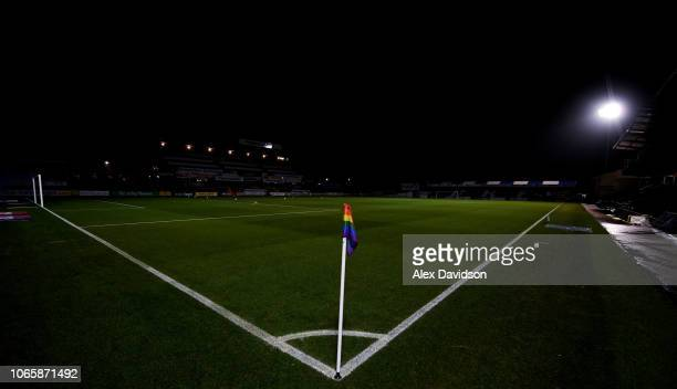 A corner flag pictured with the colours of the 'Stonewall Rainbow' campaign during the Sky Bet League One match between Bristol Rovers and Gillingham...