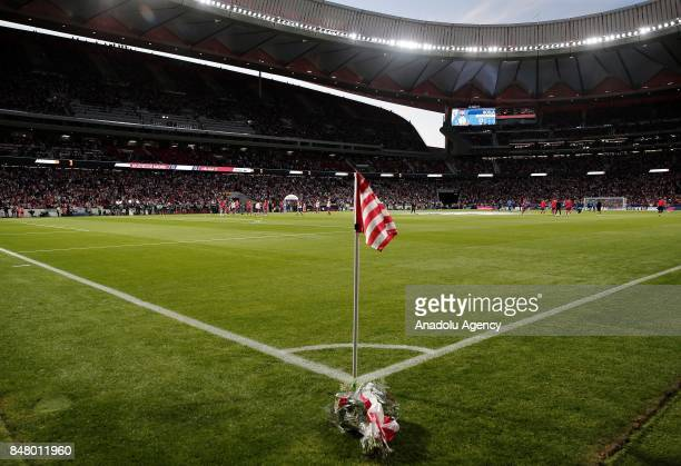 Corner flag prior to the La Liga match between Atletico Madrid and Malaga at Wanda Metropolitano in Madrid, Spain on September 16, 2017.