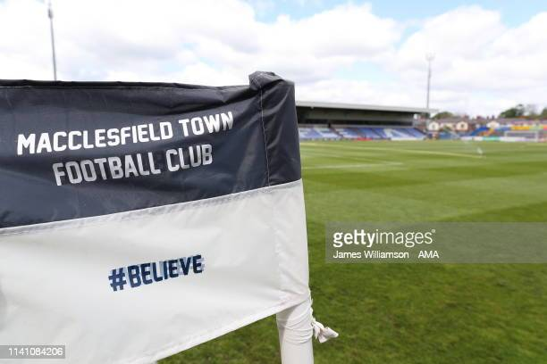 Corner flag saying Macclesfield Town Football Club #BELIEVE at Moss Rose home stadium of Macclesfield Town before the Sky Bet League Two match...