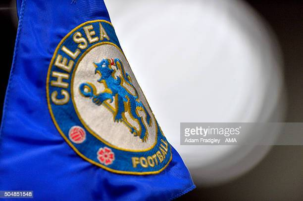 Corner flag showing the Chelsea badge during the Barclays Premier League match between Chelsea and West Bromwich Albion at Stamford Bridge on January...