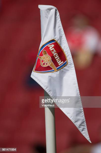 Corner flag with Arsenal club crest on during the Premier League match between Arsenal and West Ham United at Emirates Stadium on April 22 2018 in...