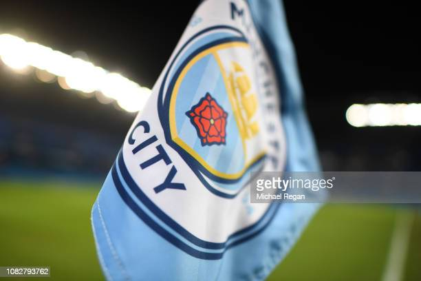 A corner flag with the Manchester City logo is seen inside the stadium prior to the Premier League match between Manchester City and Wolverhampton...