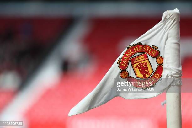 Corner flag with the Manchester United badge on during the Premier League match between Manchester United and Southampton FC at Old Trafford on March...