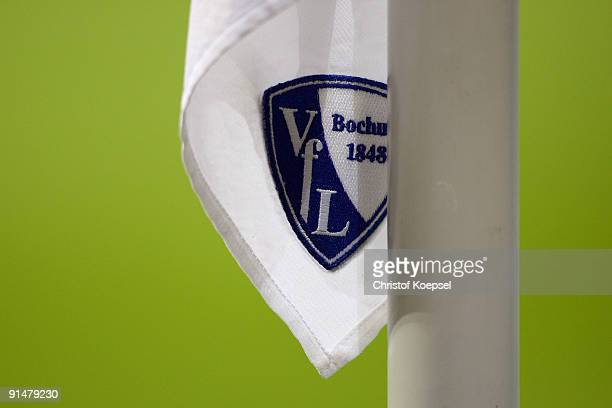 A corner flag with the official logo of Bochum is seen prior to the Bundesliga match between VFL Bochum and VfL Wolfsburg at Rewirpower Stadium on...