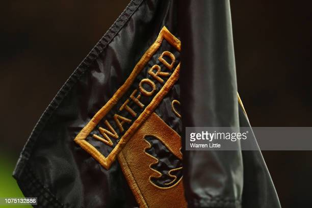 A corner flag with the Watford logo is seen prior to the Premier League match between Watford FC and Chelsea FC at Vicarage Road on December 26 2018...