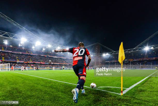 Corner kick by Lasse Schone of Genoa during the Serie A match between Genoa CFC and Bologna FC at Stadio Luigi Ferraris on September 25 2019 in Genoa...
