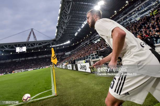 corner kick by Miralem Pjanic of Juventus during the Serie A match between Juventus and AC Milan on April 6 2019 in Turin Italy