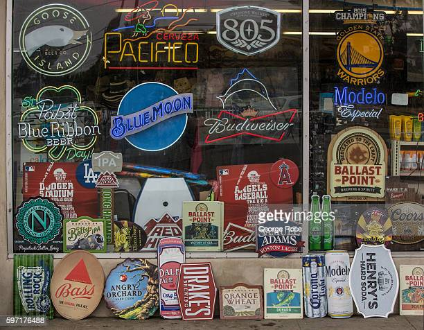Corner liquor store sells beer promotional signs as viewed on August 13 in Cayucos, California. Because of its close proximity to Southern California...