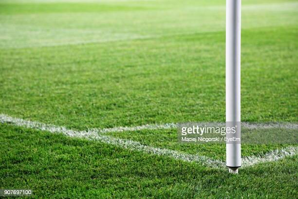 corner marking on soccer field - corner marking stock pictures, royalty-free photos & images