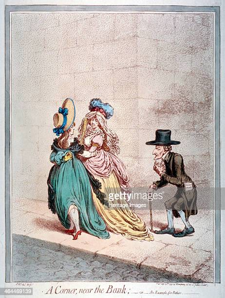 'A corner near the Bank or an example for fathers' 1797 Two young women on a street corner arm in arm one flirting with a fan the other raising her...