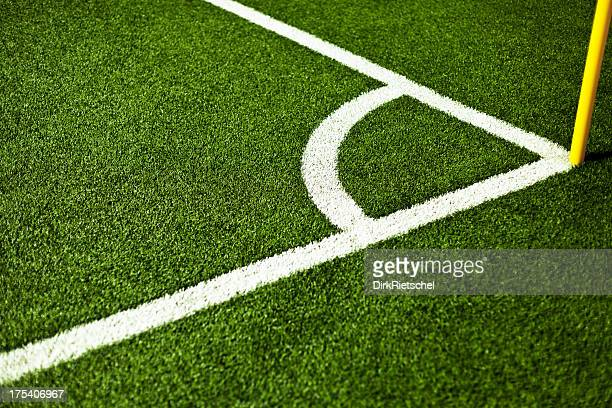corner of a scoccer field. - corner marking stock pictures, royalty-free photos & images