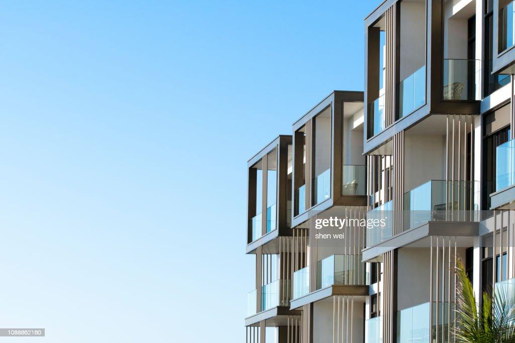 Corner of an apartment building, Dubai, UAE : Stock Photo