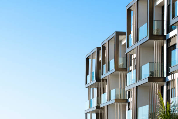 corner of an apartment building, dubai, uae - modern stock pictures, royalty-free photos & images
