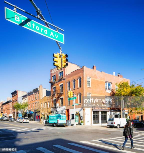 corner of bedford and grant street in williamsburg brooklyn - williamsburg new york city stock pictures, royalty-free photos & images