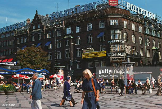 A corner of City Hall Square or Radhuspladsen in Copenhagen Denmark 1977 In front is the headquarters of the national daily newspaper Politiken