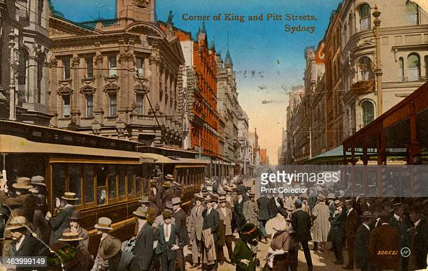 Corner of King and Pitt Streets Sydney New South Wales Australia c1917 Postcard posted in 1917