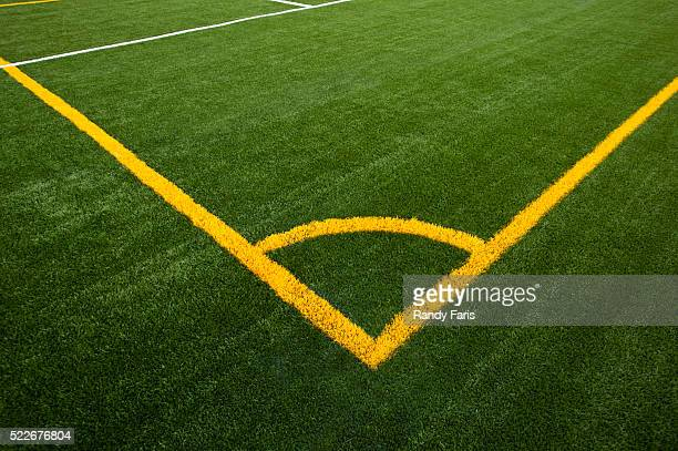 corner of soccer field lines - corner kick stock pictures, royalty-free photos & images