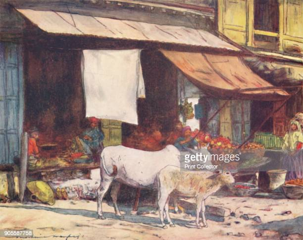 'A Corner of the Fruit Market Delhi' 1905 From India by Mortimer Menpes Text by Flora A Steel [Adam Charles Black London 1905] Artist Mortimer...