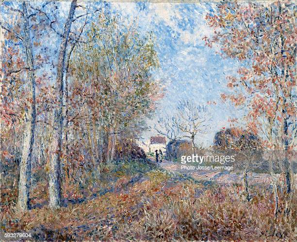 A Corner of the Woods at Sablons or the Road at the edge of the forest Painting by Alfred Sisley 1883 06 x 073 m Orsay Museum Paris