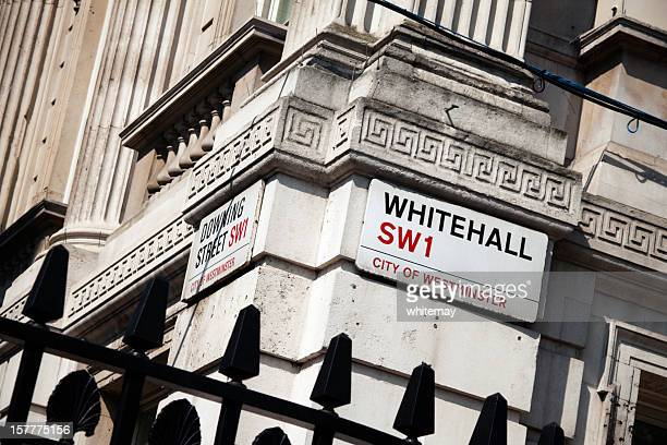corner of whitehall and downing street - whitehall london stock photos and pictures