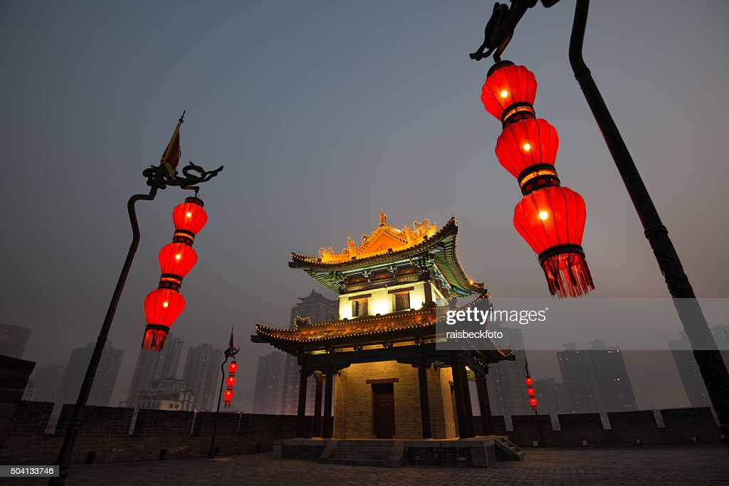 Corner Watch Tower of City Wall in Xian, China : Stock Photo