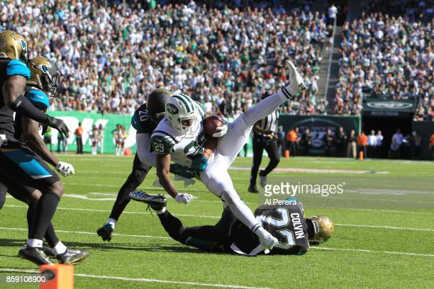 Cornerback Aaron Colvin of the Jacksonville Jaguars in action against the New York Jets during their game at MetLife Stadium on October 1 2017 in...