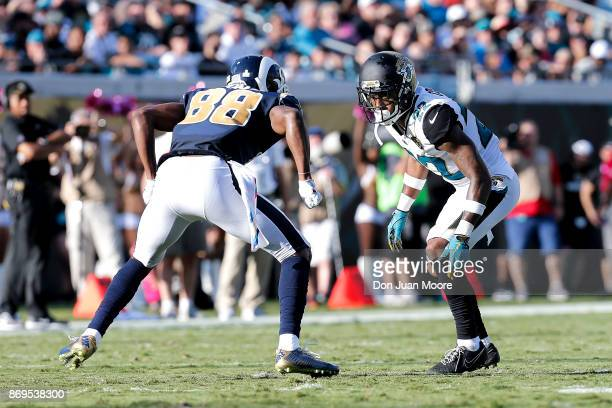 Cornerback Aaron Colvin of the Jacksonville Jaguars lines up against Wide Receiver Michael Thomas of the Los Angeles Rams during the game at EverBank...