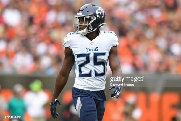 Cornerback Adoree' Jackson of the Tennessee Titans on the field in the second quarter of a game against the Cleveland Browns on September 8, 2019 at...