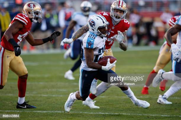 Cornerback Adoree' Jackson of the Tennessee Titans returns a kick against the San Francisco 49ers during the third quarter at Levi's Stadium on...