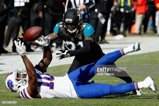 Cornerback AJ Bouye of the Jacksonville Jaguars breaks up a pass intended for wide receiver Deonte Thompson of the Buffalo Bills in the second...