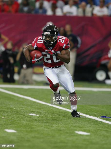 Cornerback Allen Rossum of the Atlanta Falcons carries the ball during the game against the Detroit Lions at the Georgia Dome on October 10, 2004 in...