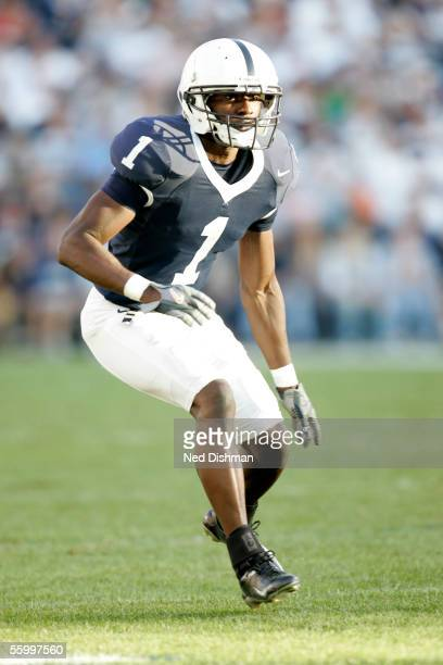 Cornerback Anwar Philips of The Penn State Nittany Lions eyes the play during a game against the Minnesota Gophers on October 1 2005 at Beaver...