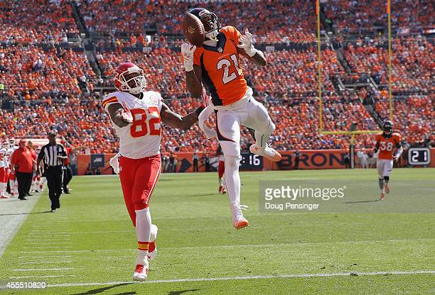 Cornerback Aqib Talib of the Denver Broncos breaks up a pass in the endzone intended for wide receiver Dwayne Bowe of the Kansas City Chiefs at...