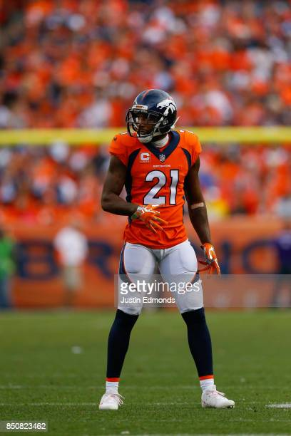 Cornerback Aqib Talib of the Denver Broncos drops back into coverage against the Dallas Cowboys at Sports Authority Field at Mile High on September...