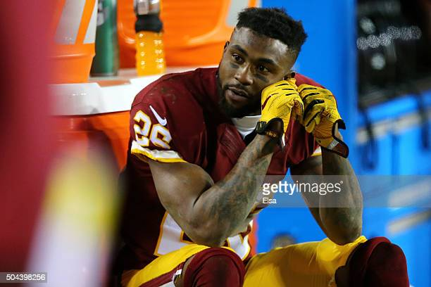 Cornerback Bashaud Breeland of the Washington Redskins looks on against the Green Bay Packers in the fourth quarter during the NFC Wild Card Playoff...